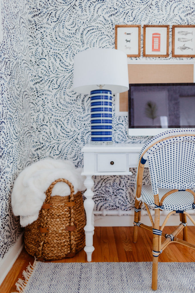 Serena & Lily Blue and White Wallpaper in a Home Office