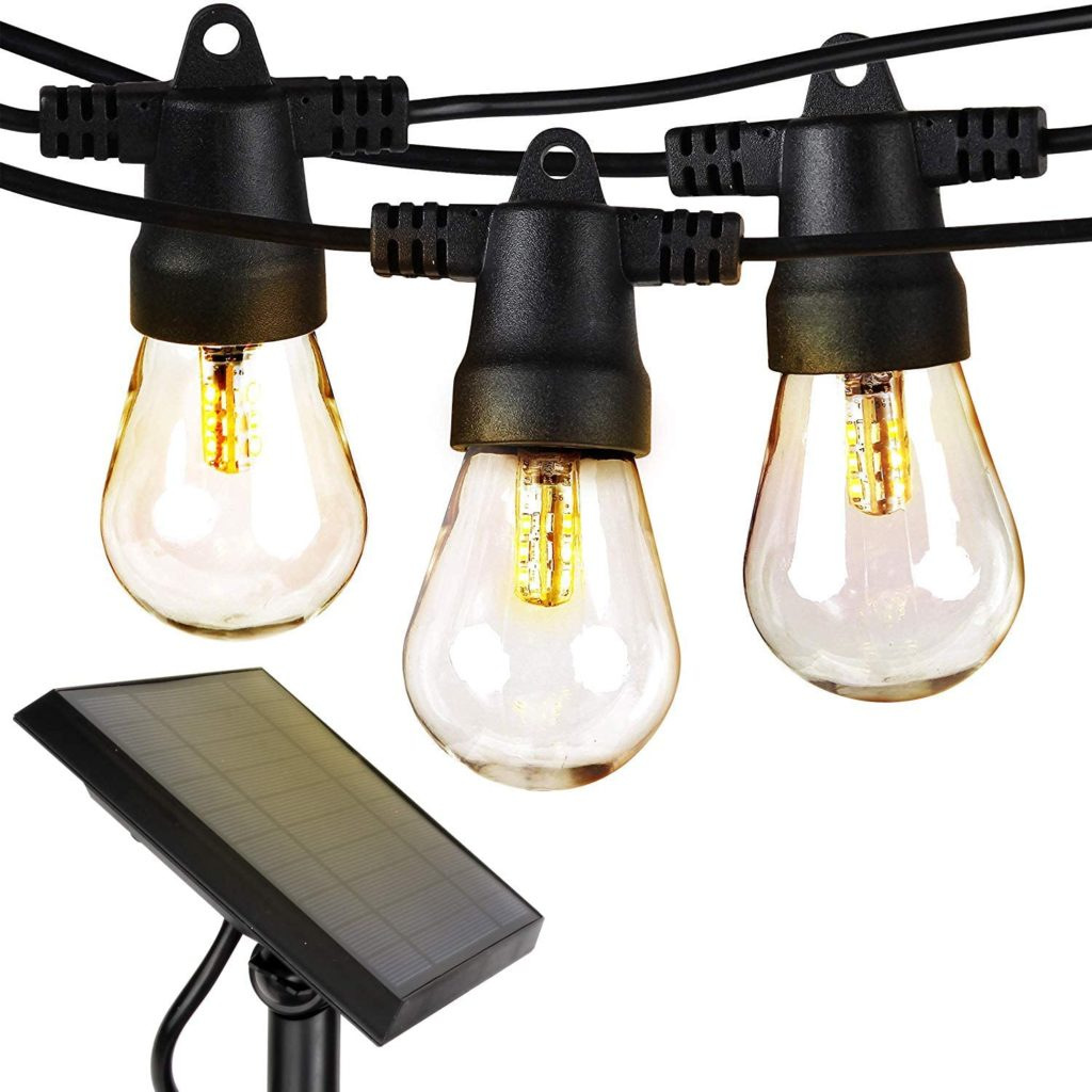 Solar powered edison bulb string lights