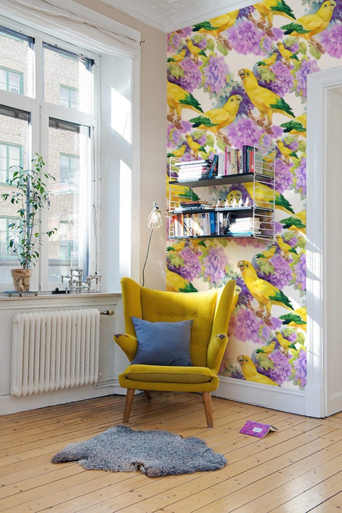 Yellow parrot with purple florals colorful peel and stick wallpaper.